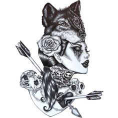 Lone Wolf- 12 x 16 inch giclee Stretched Canvas Print Tattoo art... ($95) ❤ liked on Polyvore featuring home, home decor, wall art, gothic home decor, goth home decor, skull home decor, black and white wall art and girls wall art