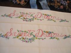 PRETTY SET of 2 Antique/Vintage PINK SWEET DREAMS FLORAL EMBROIDERY PILLOWCASES