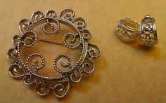 Vintage Sarah Coventry Filigree Brooch Pin & Clip On Earrings Silver Tone #SarahCoventry