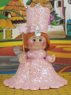 Glinda the Good Witch in Wizard of Oz OOAK fairy garden, ornament, cake topper, handmade miniature