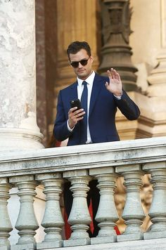 The very handsome and gorgeous Jamie Dornan on set for FSF 2016