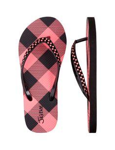 #Gingham Flip Flops