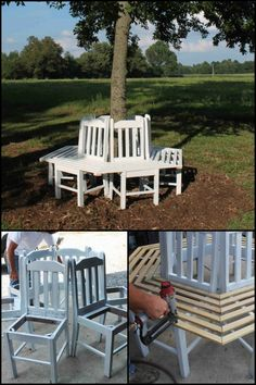 Build a beautiful bench around your tree for under $100 by using old kitchen chairs!