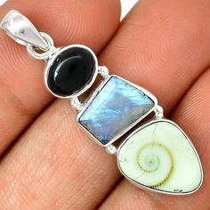 Rainbow Moonstone & Shiva Eye 925 Silver Pendant Jewelry PP17547   eBay