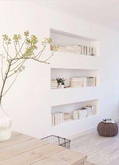 Recessed Sheetrock shelves but put tile or glass on shelf for easy dusting.
