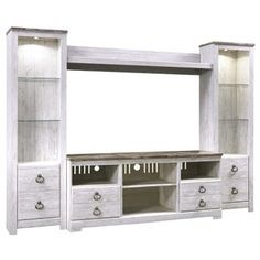 Willowton White Wash Wall Unit White Wash Walls, Entertainment Center Wall Unit, Entertainment Stand, White Washed Furniture, Power Reclining Loveseat, Furniture Sale, Clearance Furniture, Adjustable Beds, Bed Storage
