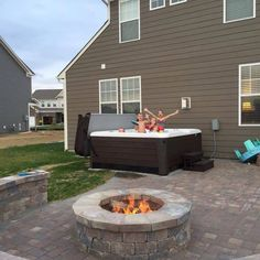 The Burkholder kids love time in their Hot Spring Grandee Spa! Spa Store, Spring Spa, Backyard Retreat, Hot Tubs, Hot Springs, Pond, Minimalism, Deck, Swimming