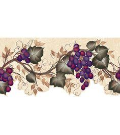 Wallpaper border tuscan grapevine leaves purple grapes for Purple kitchen wallpaper