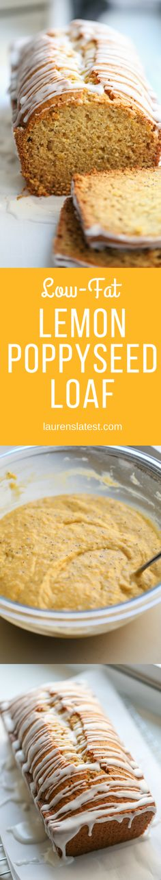Low Fat Lemon Poppyseed Loaf: Enjoy this soft, moist and delicious lemon poppyseed loaf made with healthier ingredients making this low fat and lower in processed sugar. Perfect for a healthy breakfast or snack.
