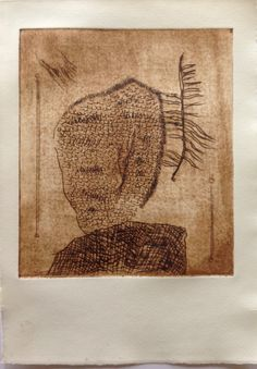 Untitled (in yr face): Drypoint etching on Stonehenge paper. Image size 16cm x 19cm.  SOLD