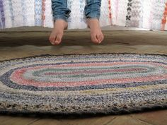 Rag rug, crochet using strips of fabric. Can't wait to have the time to make one of these!