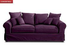 Canapé 3 places en tissu CLARA Blanc + housse coloris Prune prix promo Vente Unique 659,99 € TTC