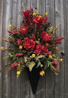 Extra Large Tuscan Red and Gold Wall Cone  Silk FlowerFloral Arrangement on Etsy, $169.00