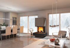 Modul plusLine: Moderne Designöfen aus Naturstein. Alle monolith modul Ofentypen können durch spezielle Feuertisch- und Bank-Anbauelemente erweitert werden.