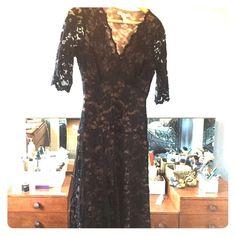Beautiful black lace dress Black lace with flesh color lining Dresses Midi