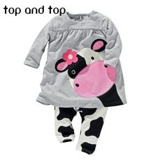Casual Long-Sleeved Cartoon Cow Cloth Set