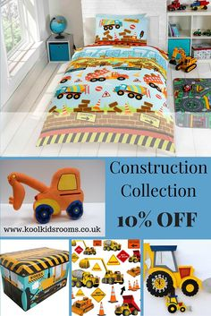 Construction 5 piece collection to create a Digger themed bedroom for toddlers & kids - includes a Construction single duvet, wall stickers, diggers handmade wooden pendulym wall clock, Construction storage box & digger cushion. Digger bedroom accessory ideas.