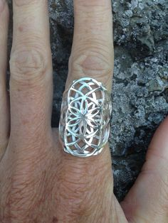 Sterling Silver Double Seed of Life Ring, Sacred G Geometry Flower of Life Spiritual Mandala Jewelry - R303