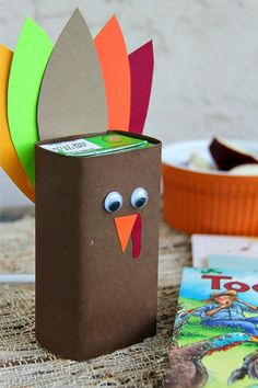 DIY Thanksgiving Juice Box Turkey Craft, a perfect addition for kids' table fun during the holiday season.