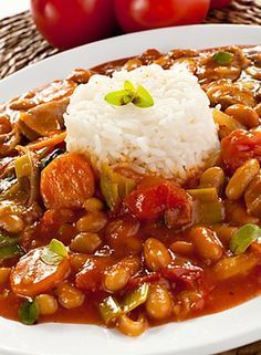 Goulash with rice. Delicious goulash with white rice ,