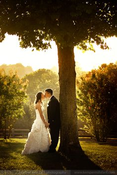 Can't do a wedding picture like this, but I love the concept of the sunshine behind the tree.