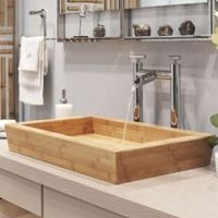 Stone Forest Large Moso Bamboo Vessel Lavatory Sink x x Lavatory Sink, Sink Faucets, Sinks, Vessel Sink, Bamboo Bathroom, Modern Bathroom, Bathroom Mat, Bamboo Stalks, European Kitchens