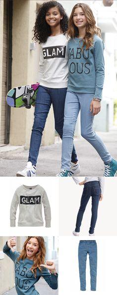 Echte Mädchen brauchen nicht viel, um ihren Stil auszudrücken. Die sportlichen Arizona Sweatshirts in verschiedenen Farben wirken lässig und werden durch die Paillettenapplikation zum Fashion-Statement. Die elastischen CFL Jeggins in Hell- oder Dunkelblau sind superbequem und trendig wie Jeans.