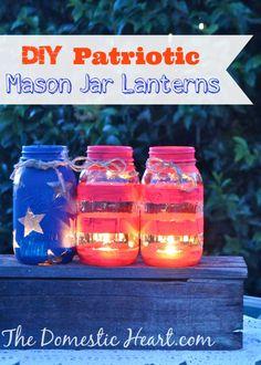 The Domestic Heart: DIY Patriotic mason jar lanterns