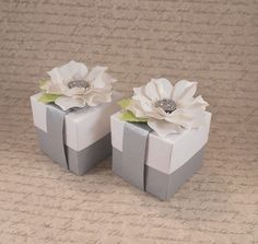 White Flower Favor Box White and Grey Gift Box by AngelsofHeaven