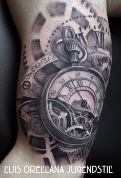 Gears Clock Tattoo by mojoncio.deviantart.com on @DeviantArt