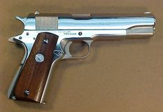 Save those thumbs Colt 45 1911, 1911 Pistol, 1911 Grips, Military Guns, Guns And Ammo, Self Defense, Polished Nickel, Firearms, Hand Guns