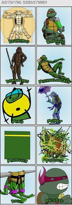 Ninja Turtles' artistic renditions…