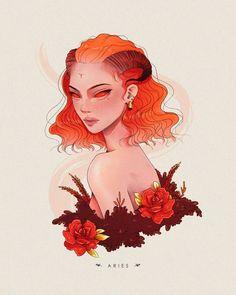 Arte Aries, Aries Art, Zodiac Art, Zodiac Signs, Pretty Drawings, Art Drawings, Digital Art Girl, Pictures To Draw, Beautiful Artwork