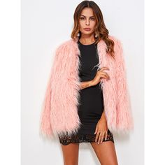 SheIn(sheinside) Faux Fur Open Front Fluffy Coat ($43) ❤ liked on Polyvore featuring outerwear, coats, faux fur coat, collarless coat, pink fake fur coat, pink faux fur coat and short sleeve coat