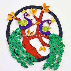 Peacock Wall Hanging | DIY - Crafts | Peacock Making | Peacock Craft | How to Make By Punekar Sneha Peacock Crafts, Paper Flowers, Garden Design, Diy Crafts, Fan Art, Birthday, Wall, How To Make, Home Decor