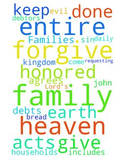 Lord's Prayer for Us and Our Families -  Father in Heaven, Your Name be Honored, Your Kingdom Come, Your Will be Done, on earth as in heaven. Give us daily bread, forgive our debts, forgive our debtors, keep us from sin and evil. I ask this for my family, myself and for whomever agrees and their entire family (This includes requesting for the salvation of our entire households -- John 4:54, Acts 16:31-32 & etc), in Jesus Name.  Posted at: https://prayerrequest.com/t/1vm #pray #prayer…