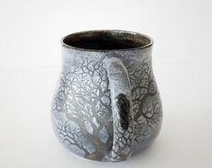 Sgraffito Stoneware 9 Ravens Tree Mug in Stormy Grey Glaze - Handmade Functional Ceramic Art by Katherine by MuddyRaven on Etsy