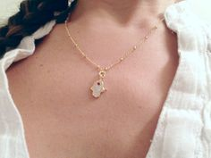 Delicate hamsa hand necklace // yoga // buddhist jewelry // protection // layering // good luck jewelry // gift for her // everyday jewelry