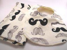 Mustache Baby Bib and Burp Cloth Shower Gift by bamcraftymommas, $15.00