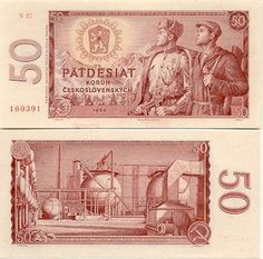 Czechoslovakian banknote from Patdesiat Korun / Fifty Crowns. Socialism, Photos, Pictures, Bratislava, Childhood Memories, Vintage World Maps, Painting, Oil Refinery, Prague