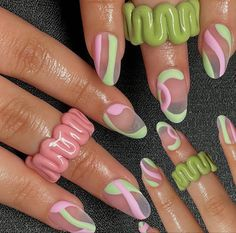Best Acrylic Nails, Acrylic Nail Designs, Colourful Acrylic Nails, Nagel Hacks, Nagellack Design, Acylic Nails, Nail Jewelry, Jewellery, Funky Nails