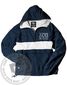 Alpha Omicron Pi Letter Windbreaker by Adam Block Design | Custom Greek Apparel & Sorority Clothes | www.adamblockdesign.com