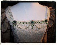 Emerald and Ivory Antique Aurora Bodice by RecycledRockstah, $29.00