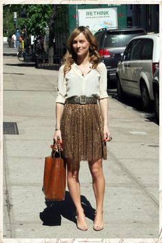 There's that solid color silky button-down that I need.  Also, love the skirt... been looking for a sequin skirt, too!