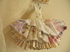 Mixed Media Paper Doll Dresses | Pink paper doll dress