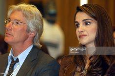 2005, American Actor Richard Gere left and Queen Rania of Jordan listen at he World Economic Forum at the Dead Sea near Amman, Jordan