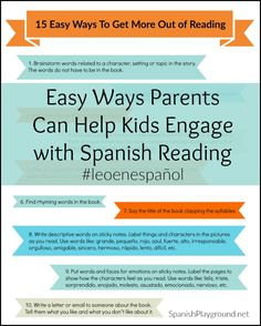 Kids reading in Spanish need to engage with the story to learn language. 15 easy activities to use with any book to help kids learn as they read.
