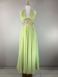 Vintage 1960s Jack Bryan green chiffon dress by FabVintage on Etsy