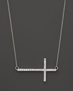 Diamond Cross Necklace in 14K White Gold, .25 ct.tw. - Necklaces - Shop by Style - Fine Jewelry - Bloomingdale's