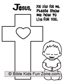 Coloring Page Of Little Boy Kneeling At The Cross